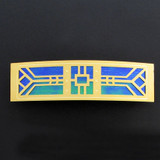 Blue and Gold Arts & Crafts Large Hair Barrette