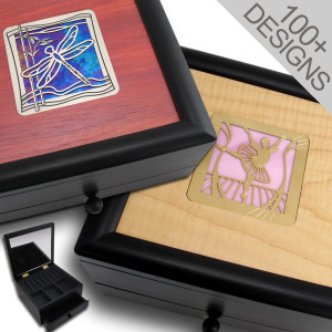 Wooden Jewelry Box with Drawer and Lid Mirror