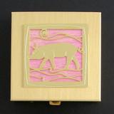 Pink Pig Pill Box - Gold