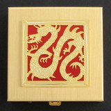 Gold & Red Chinese Dragon Pill Box