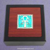 Ankh Small Decorative Glass Inlay Wooden Box