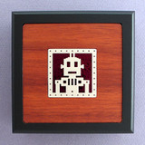 Robot Small Handcrafted Wood Box