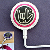 Pink ASL I Love You Sign Language Purse Hook