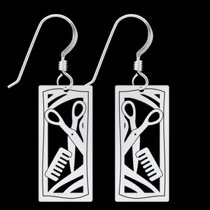 Small Hairdresser Earrings - Silver