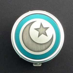 Islamic Crescent Star Pill Box - Round