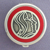 Profiled Faces Pill Case - Round