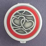Interlocking Hearts Pill Case - Round