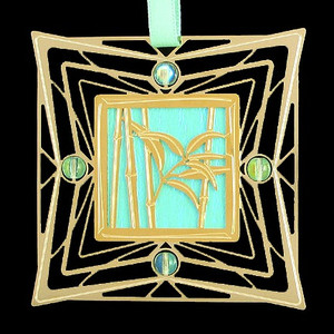 Mint Green and Gold Bamboo Ornament