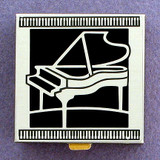 Black Piano Pill Box - Small, Silver Metal