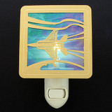 Stained Glass Jet Airplane Night Light