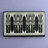 Retro Art Deco Business Card Holder Case in Black