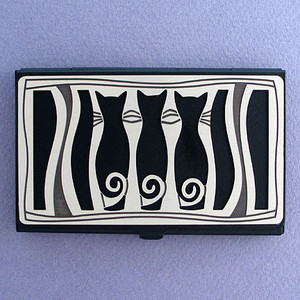 Cat Silhouettes Black Business Card Case