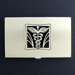 Physician Caduceus Business Card Holder