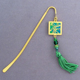Golf Bookmark - Gold with Green Tassel