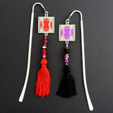 Milano Modern Hook Bookmark with Beaded Tassels
