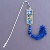 Egyptian Hieroglyphic Bookmark - Silver & Blue