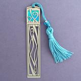 Ribbons Long Metal Bookmark with Tassel