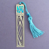Ribbons Long Metal Bookmark with Tassel