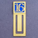 Number 16 Symbol Engraved Bookmark