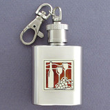 Wine Glasses Key Chain Flask