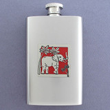 Elephants Hip Flask 4 Oz. Stainless Steel
