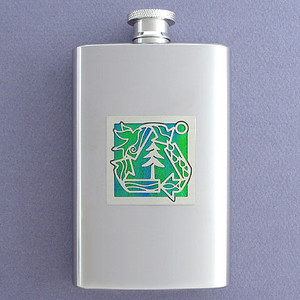 Recycling Symbol Hip Flask 4 Oz Stainless Steel