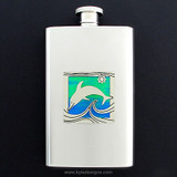 Dolphin Hip Flask 4 Oz Stainless Steel