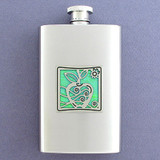 Apple Hip Flask 4 Oz Stainless Steel