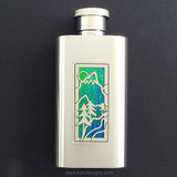 Mountain Flask in 2 Oz Mirror Finish Stainless Steel