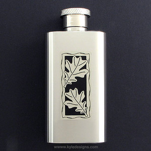 Oak Leaf Flasks in 2 Oz Stainless Steel