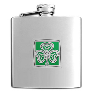 Shamrock 6 Oz. Mirror Finish Drinking Flask