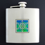 Snowflake Liquor Flask 6 Oz. Polished