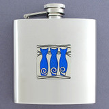 Cat Drinking Flask 6 Oz. Stainless Steel