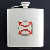Baseball Drinking Flask 6 Oz. Stainless Steel