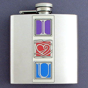 "Romantic ""I Love You"" 6 Oz. Flasks"