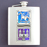 8 Oz. Stainless Steel Dragon and Castle Flask
