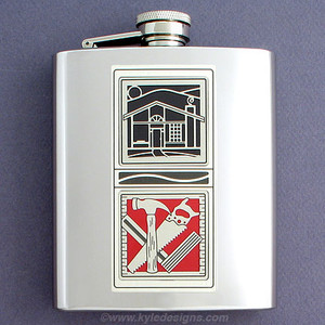 Home Remodeling Emergency Repair Kit Flask in 8 Oz Steel