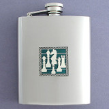 Chess Flask in 8 Oz. Stainless Steel