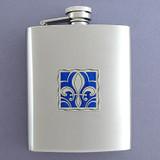 Fleur De Lis Flask in 8 Oz. Stainless Steel