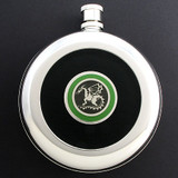 Dragon Flask Round Black Leather with Belt Hook