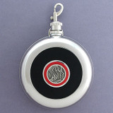 Faces Round Black Leather Flask with Belt Hook