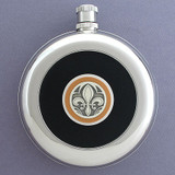 Fleur De Lis Round Black Leather Flask with Belt Hook