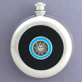 Sunshine Round Black Leather Flask with Belt Hook