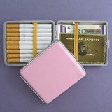 Pink Leather Wallet or Cigarette Case - Double-sided, Elastic Band