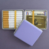 Purple Leather Wallet or Cigarette Case - Double-sided, Elastic Straps