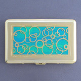 Abstract Circles Large Metal Cigarette Case Wallet