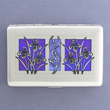 Iris Flowers Cigarette Case or Credit Card Wallet