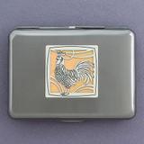 Rooster Metal Wallet or Cigarette Case