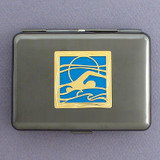 Swimming Metal Credit Card Case Wallet