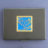 Diamond Motif Metal Credit Card Holder or Cigarette Case